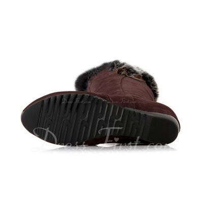 Süet Alçak Topuk Diz Yüksek Boots ayakkabı (088057298)