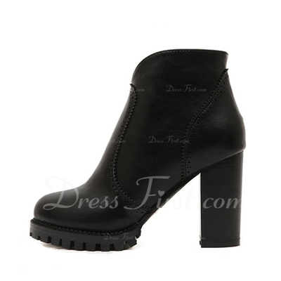 Leatherette Chunky Heel Ankle Boots shoes (088056981)