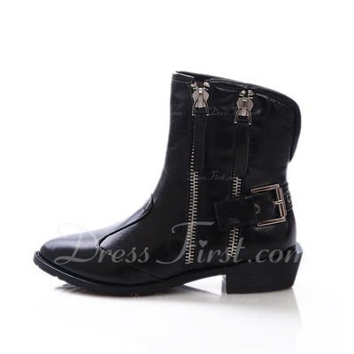 Real Leather Low Heel Ankle Boots With Zipper shoes (088057060)