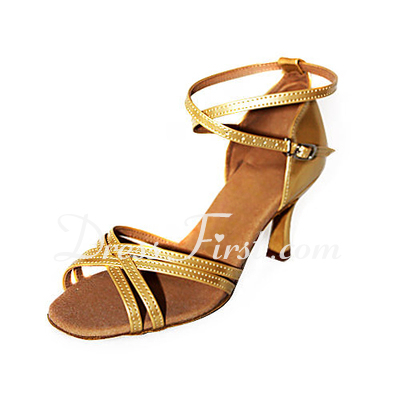Women's Patent Leather Heels Sandals Latin With Ankle Strap Dance Shoes (053013357)
