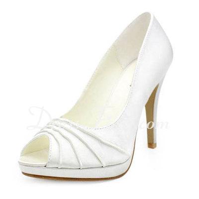 Satyna Szpilki Z Odkrytym Palcem Buty na Platformie Sandały Buty Ślubne (047011893)