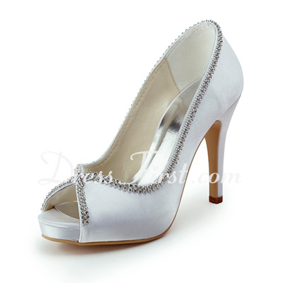 Women's Satin Cone Heel Peep Toe Platform Sandals With Beading (047011821)