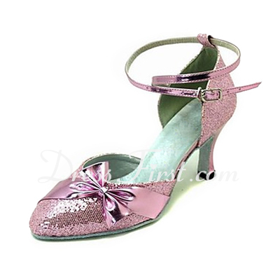 Women's Leatherette Sparkling Glitter Heels Pumps Modern Ballroom With Bowknot Dance Shoes (053013213)