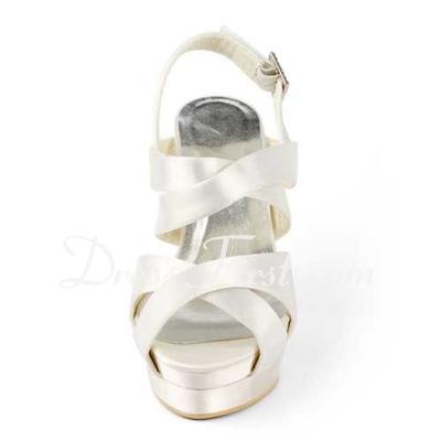 Kadın Satin Külah Topuk Platform Sandalet Arkası açık iskarpin Ile Toka (047011829)