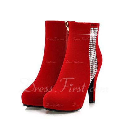 Süet İnce Topuk Ayak bileği Boots Ile Yapay elmas ayakkabı (088057268)