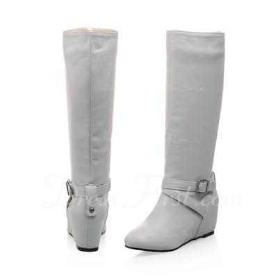 Suni deri Dolgu Topuk Mid-Buzağı Boots Ile Toka ayakkabı (088057279)