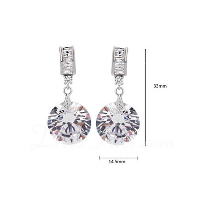 Shining Zircon/Platinum Plated Ladies' Earrings (011057245)