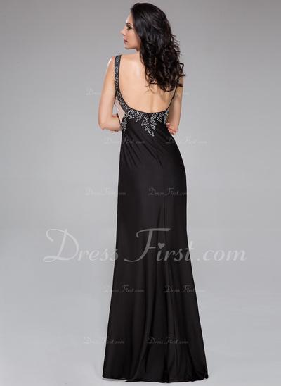 Sheath/Column V-neck Sweep Train Jersey Prom Dress With Beading Split Front (018044962)