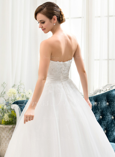 Corte de baile Escote corazón Hasta el suelo Organdí Encaje Vestido de novia con Bordado Lentejuelas Lazo(s) (002054360)