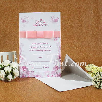 Classic Style Flat Card Invitation Cards With Ribbons (Set of 50) (114030743)