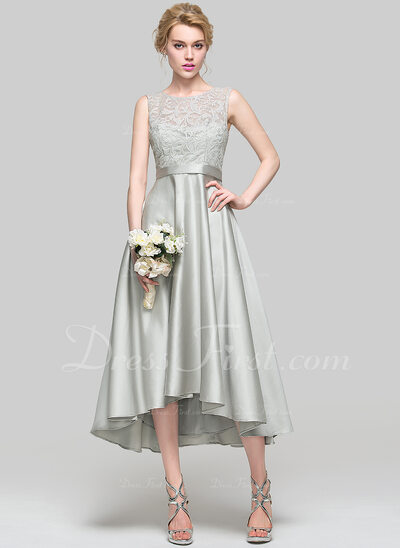 Forme Princesse Col rond Asymétrique Satiné Robe de cocktail (016096567)