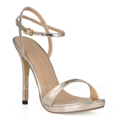 Women's Patent Leather Stiletto Heel Sandals Slingbacks (047015248)