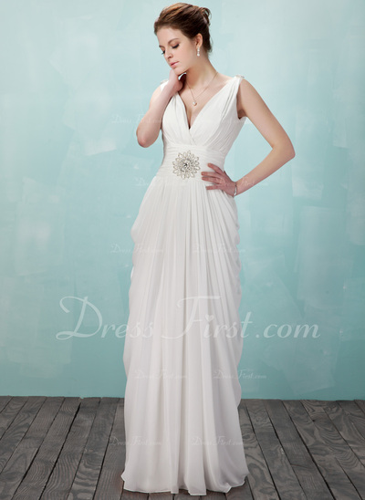 Sheath/Column V-neck Floor-Length Chiffon Evening Dress With Ruffle Beading (017018949)