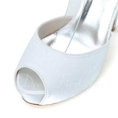 Women's Satin Stiletto Heel Peep Toe Platform Pumps Sandals With Buckle Imitation Pearl (047057072)