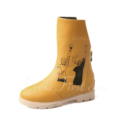 Suni deri Düz Topuk Mid-Buzağı Boots ayakkabı (088056557)