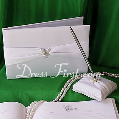 Butterfly Design Rhinestones Guestbook & Pen Set (101018212)