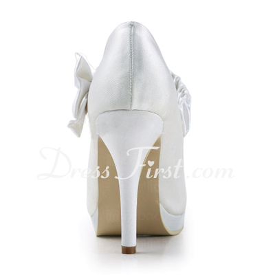 Women's Satin Cone Heel Closed Toe Platform Pumps With Bowknot (047011862)