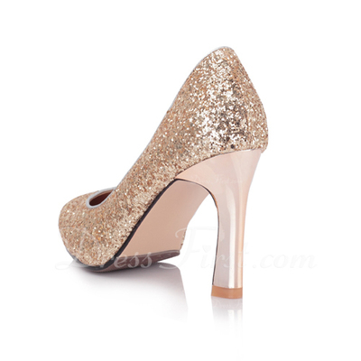 Sparkling Glitter Chunky Heel Pumps Closed Toe shoes (085054494)