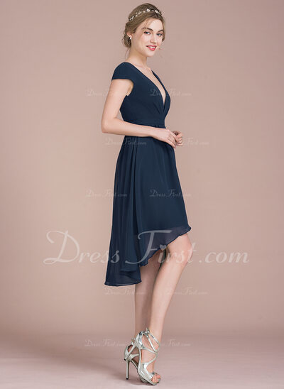 A-Line/Princess V-neck Asymmetrical Chiffon Bridesmaid Dress (007105586)
