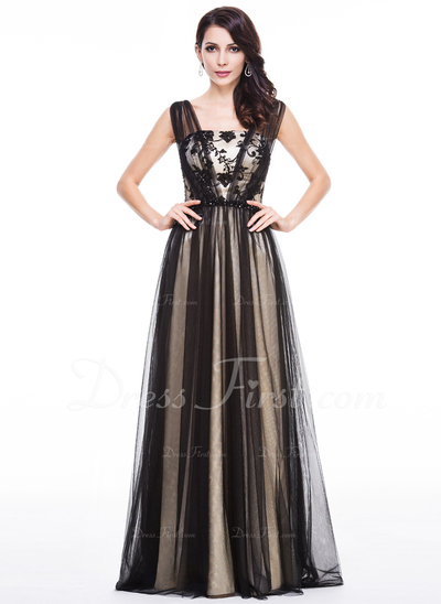 Çan/Prenses Uzun Etekli Tulle Charmeuse Gece Elbisesi Ile Lace Boncuklama Pullarda (017056516)