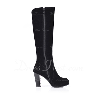 Suede Chunky Heel Knee High Boots With Rhinestone shoes (088054681)