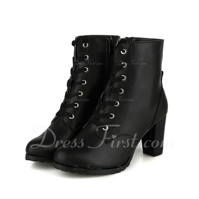 Real Leather Chunky Heel Ankle Boots With Lace-up shoes (088057063)