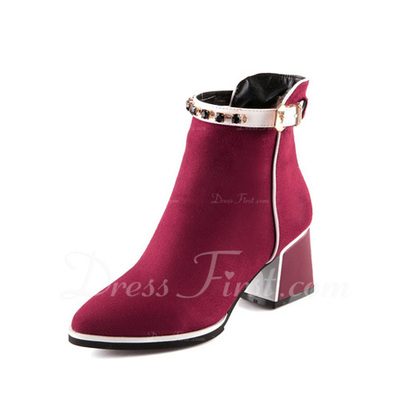 Suede Chunky Heel Ankle Boots With Rhinestone shoes (088057297)