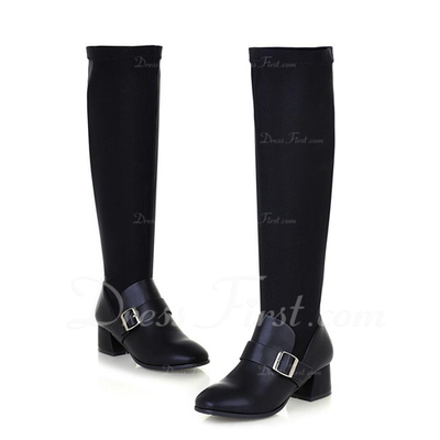 Suede Leatherette Chunky Heel Knee High Boots With Buckle shoes (088056719)