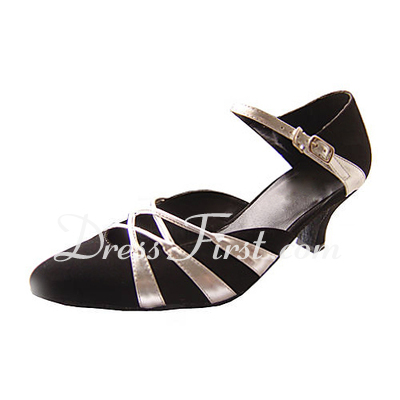 Women's Leatherette Nubuck Heels Pumps Modern With Buckle Dance Shoes (053013504)