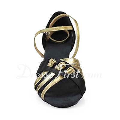 Women's Satin Leatherette Heels Sandals Latin With Ankle Strap Dance Shoes (053013192)