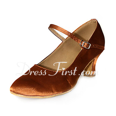 Women's Satin Heels Pumps Modern Dance Shoes (053013536)