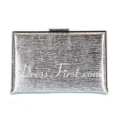 Fashional Faux Leather With Metal Clutches (012028022)