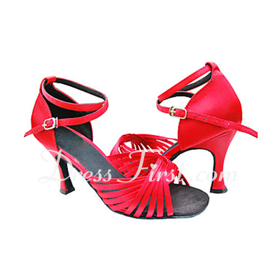 Women's Satin Heels Sandals Latin With Ankle Strap Dance Shoes (053013232)