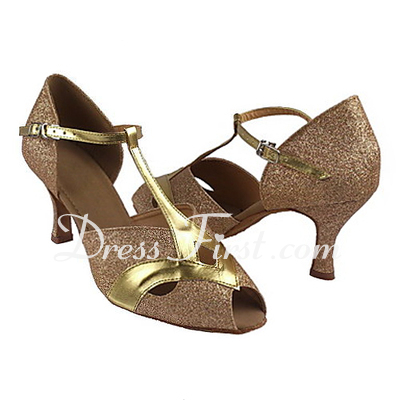 Women's Leatherette Sparkling Glitter Heels Sandals Latin Ballroom With T-Strap Dance Shoes (053013225)