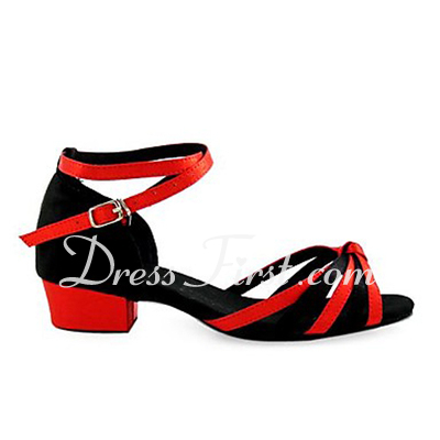 Women's Kids' Satin Sandals Latin Ballroom With Ankle Strap Dance Shoes (053013586)