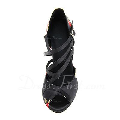 Women's Satin Heels Sandals Latin With Buckle Dance Shoes (053056030)