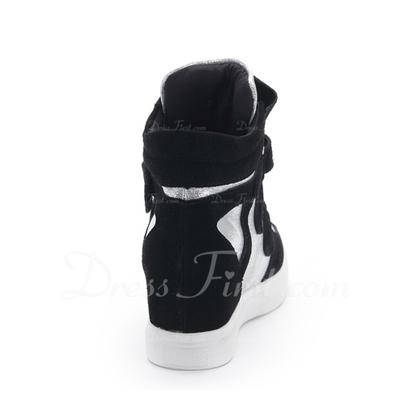 Gerçek Deri Alçak Topuk Daireler Kapalı Toe Ile Cırt Cırt ayakkabı (086057526)