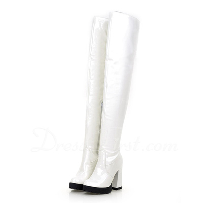 Patent Leather Chunky Heel Over The Knee Boots shoes (088056891)