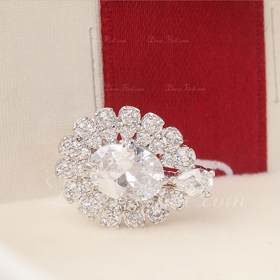 Shining Zircon/Platinum Plated Ladies' Earrings (011057454)
