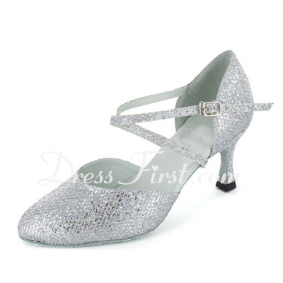 Women's Sparkling Glitter Heels Pumps Modern Ballroom With Ankle Strap Dance Shoes (053021384)
