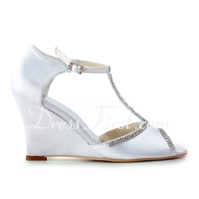 Women's Satin Wedge Heel Peep Toe Sandals Wedges With Beading (047011824)