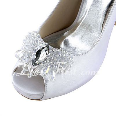 Women's Satin Cone Heel Peep Toe Platform Sandals With Rhinestone (047016586)