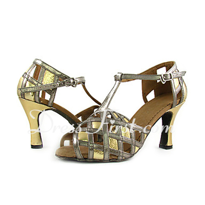 Women's Leatherette Patent Leather Heels Sandals Latin With T-Strap Dance Shoes (053013217)
