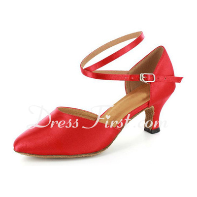 Women's Satin Heels Pumps Modern With Ankle Strap Dance Shoes (053021520)