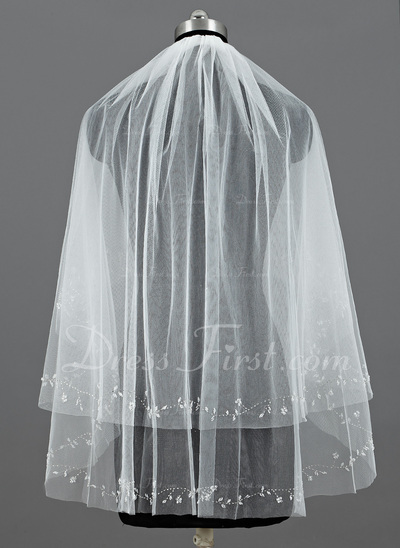 Two-tier Fingertip Bridal Veils With Cut Edge (006034293)