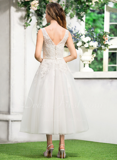 A-linjeformat V-ringning Tea-lång Tyll Spetsar Bröllopsklänning med Rosett/-er (002052767)
