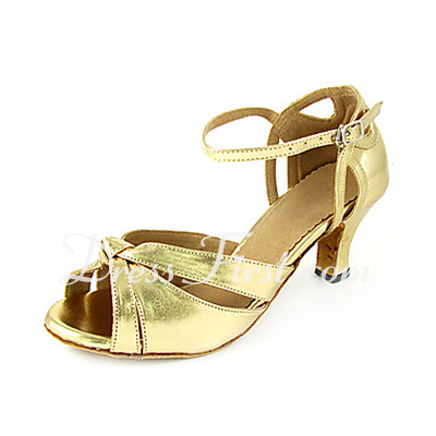Women's Patent Leather Heels Sandals Latin With Ankle Strap Dance Shoes (053013547)