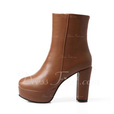 Suni deri Kalın Topuk Ayak bileği Boots ayakkabı (088056633)