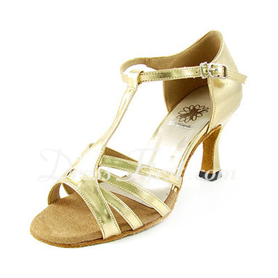 Women's Leatherette Heels Sandals Latin With T-Strap Dance Shoes (053013020)