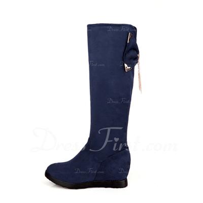 Süet Alçak Topuk Diz Yüksek Boots Ile Ilmek ayakkabı (088057267)
